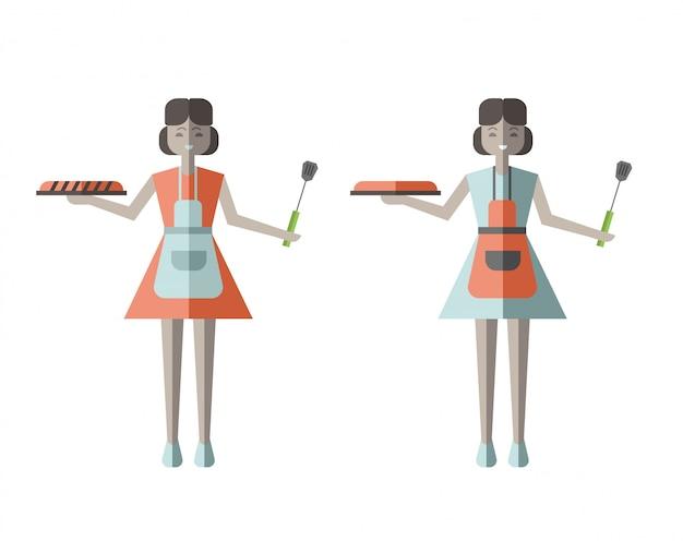 Donna della casalinga che tiene torta al forno fresca. illustrazione in stile, su bianco.