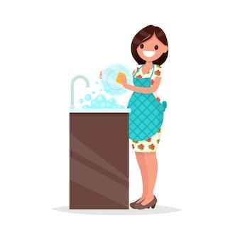 Casalinga. la donna che indossa un grembiule sta lavando l'illustrazione dei piatti