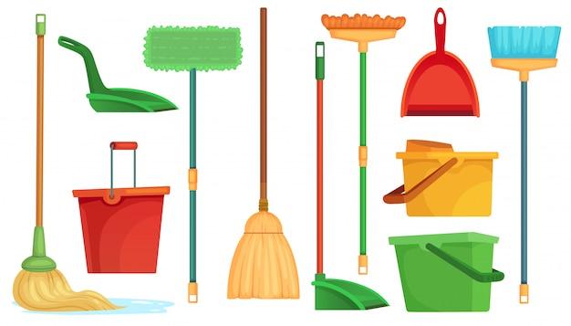 Scopa e mop per lavori domestici. le scope della spazzatrice, i mop di pulizia domestica e la scopa di pulizia con la paletta per la spazzatura hanno isolato l'insieme dell'illustrazione del fumetto