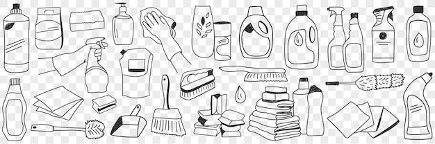 Insieme di doodle di strumenti e attrezzature per lavori domestici