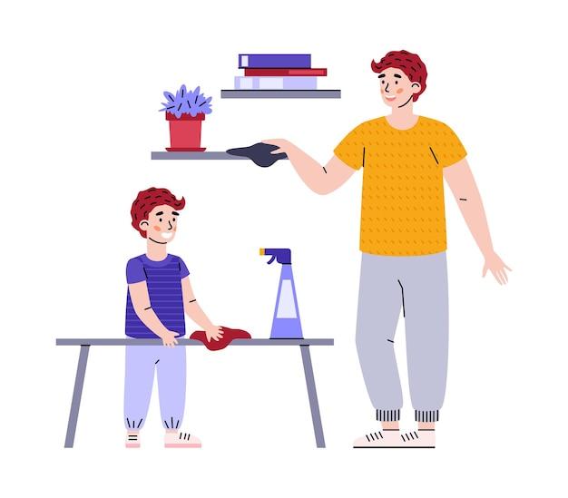 I lavori domestici per bambino e padre figlio e papà insieme puliscono la polvere e la stanza delle pulizie