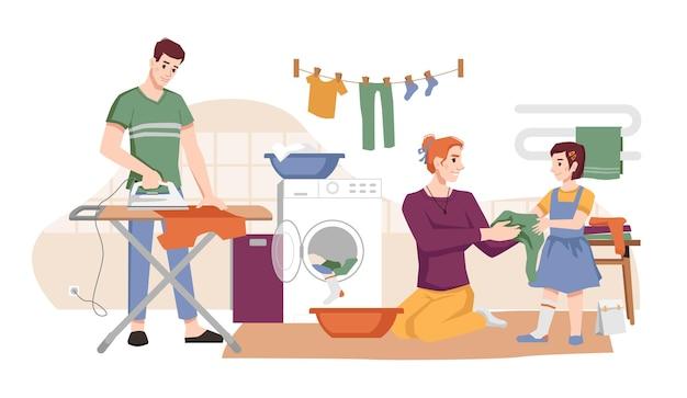 Uomo delle faccende domestiche con ferro donna che lava il bucato