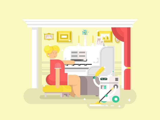 Assistente robot per lavori domestici. casa più pulita, macchina domestica, tecnologia cyborg, illustrazione