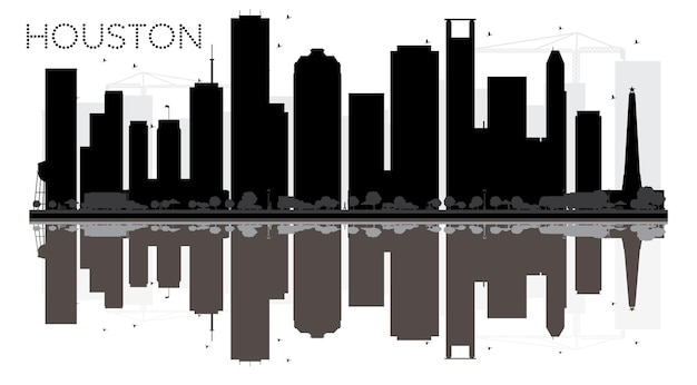 Siluetta in bianco e nero dell'orizzonte di houston city con le riflessioni. illustrazione vettoriale. semplice concetto piatto per presentazione turistica, banner, cartellone o sito web. paesaggio urbano con punti di riferimento.