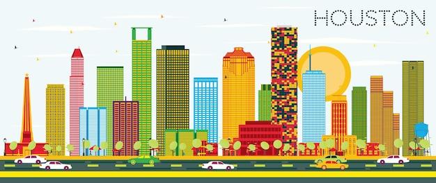 Skyline di houston con edifici di colore e cielo blu. illustrazione di vettore. viaggi d'affari e concetto di turismo con edifici moderni. immagine per presentazione banner cartellone e sito web.