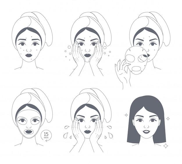 Come applicare le istruzioni per la maschera facciale per le donne.