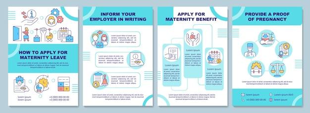 Come richiedere il modello di brochure per il congedo di maternità. volantino, opuscolo, stampa di volantini, copertina con icone lineari. layout vettoriali per presentazioni, relazioni annuali, pagine pubblicitarie
