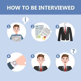 Come comportarsi in un colloquio di lavoro. la persona si prepara per l'incontro con il responsabile delle risorse umane. illustrazione