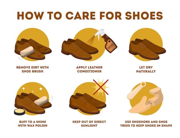 Come prendersi cura delle istruzioni per le scarpe di cuoio