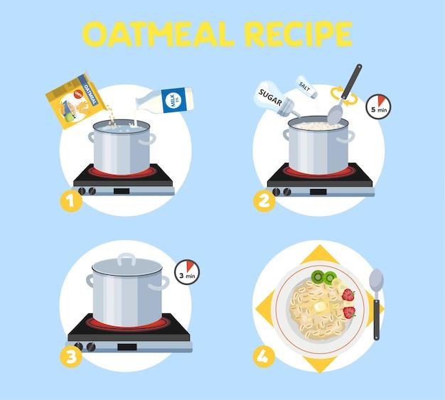 Come cucinare il porridge con pochi ingredienti ricetta facile. istruzioni sul processo di preparazione della farina d'avena per la colazione. ciotola calda con cibo gustoso. illustrazione vettoriale piatto isolato
