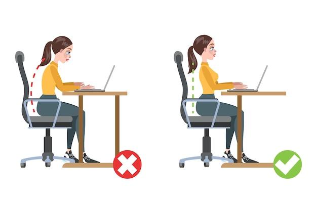 Come correggere la postura infografica. posa errata e mal di schiena. posizione del corpo sbagliata e giusta. illustrazione