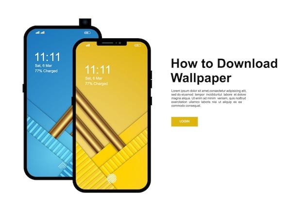 Come scaricare il modello di banner per lo sfondo. smartphone con design moderno sfondo dello schermo del telefono cellulare