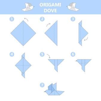 Come realizzare origami colomba guida. istruzioni per realizzare un uccello di fogli di carta. giocattolo per bambini passo dopo passo. illustrazione vettoriale in stile cartone animato