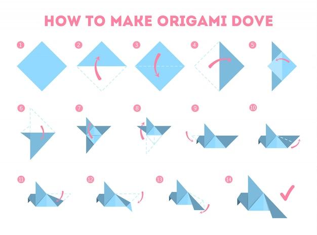 Come rendere origami colomba guida. istruzioni per la fabbricazione del foglio di uccello di carta.