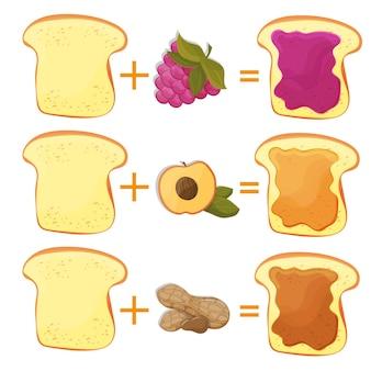Come preparare gli ingredienti del pane tostato per il classico fast food americano gustoso per poster o cartoncino. illustrazione vettoriale