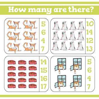 Quanti ci sono conteggio del gioco per bambini in età prescolare conta quanti
