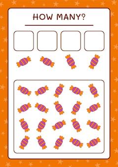 Quante caramelle, gioco per bambini. illustrazione vettoriale, foglio di lavoro stampabile
