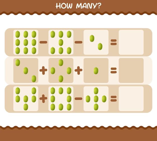Quanti jackfruit dei cartoni animati. conteggio del gioco. gioco educativo