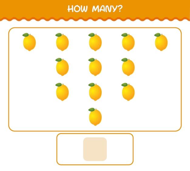 Quanti limone del fumetto. conteggio del gioco. gioco educativo per bambini e bambini in età prescolare