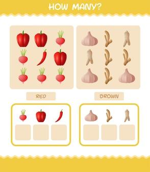 Quante verdure dei cartoni animati. gioco di conteggio. gioco educativo per bambini e ragazzi in età prescolare