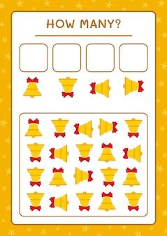 Quante campane di natale, gioco per bambini. illustrazione vettoriale, foglio di lavoro stampabile