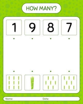 Quanti giochi di conteggio con gli asparagi. foglio di lavoro per bambini in età prescolare
