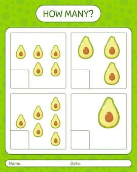 Quanti giochi di conteggio con foglio di lavoro di avocado per bambini in età prescolare