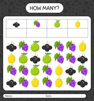 Quanti conteggio del gioco con la frutta. foglio di lavoro per bambini in età prescolare, foglio di attività per bambini, foglio di lavoro stampabile