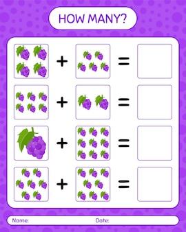Quanti conteggio del gioco con l'uva. foglio di lavoro per bambini in età prescolare, foglio di attività per bambini, foglio di lavoro stampabile