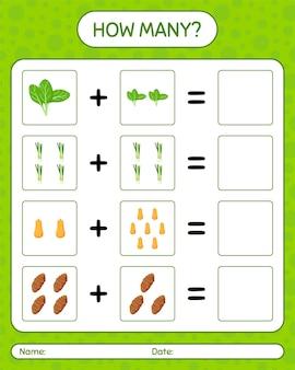 Quanti giochi di conteggio con le verdure. foglio di lavoro per bambini in età prescolare, foglio di attività per bambini, foglio di lavoro stampabile