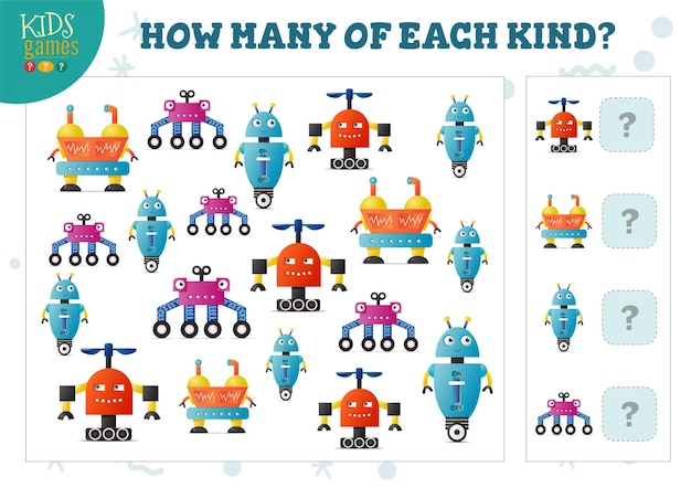 Quanti di ogni tipo di gioco di conteggio robot dei cartoni animati per bambini illustrazione vettoriale. attività educativa per bambini in età prescolare con confronto e conteggio di oggetti