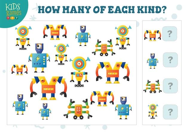 Quanti di ogni tipo di robot dei cartoni animati bambini contano l'illustrazione vettoriale del gioco. attività educativa per bambini in età prescolare con conteggio oggetti