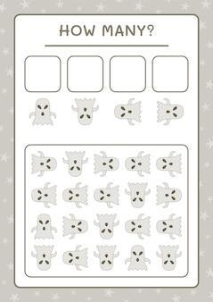 Quanti ghost, gioco per bambini. illustrazione vettoriale, foglio di lavoro stampabile