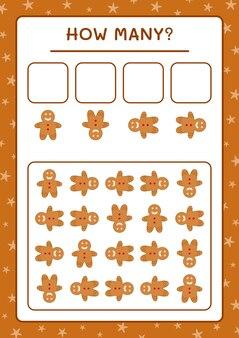 Quanti biscotti di pan di zenzero, gioco per bambini. illustrazione vettoriale, foglio di lavoro stampabile