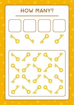 Quante chiavi, gioco per bambini. illustrazione vettoriale, foglio di lavoro stampabile