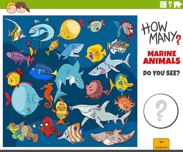 Quanti animali marini compito educativo per i bambini