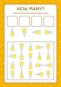 Quanti potion bottle, gioco per bambini. illustrazione vettoriale, foglio di lavoro stampabile