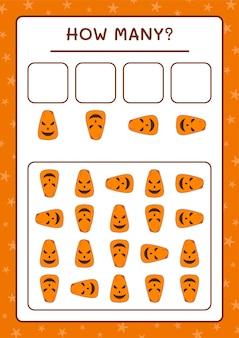 Quante zucca, gioco per bambini. illustrazione vettoriale, foglio di lavoro stampabile