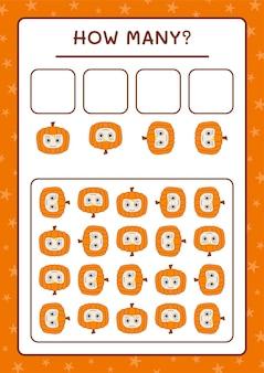 Quanti pumpkin mask, gioco per bambini. illustrazione vettoriale, foglio di lavoro stampabile