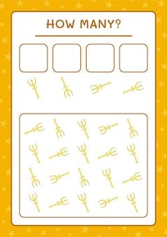 Quanti spear, gioco per bambini. illustrazione vettoriale, foglio di lavoro stampabile