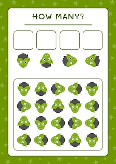 Quanti vampiri, gioco per bambini. illustrazione vettoriale, foglio di lavoro stampabile