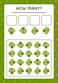 Quanti zombie, gioco per bambini. illustrazione vettoriale, foglio di lavoro stampabile