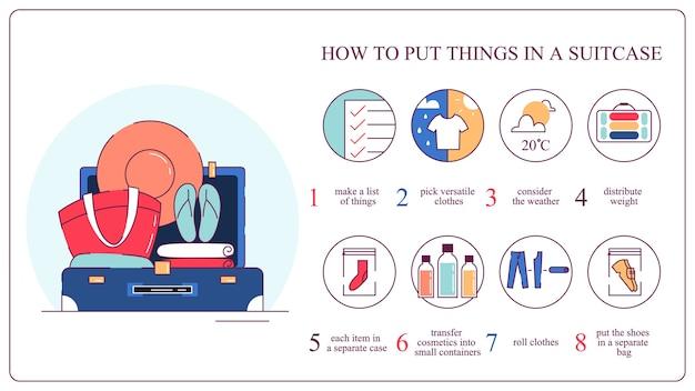 Come imballare le cose in valigia. bagagli e vestiti, preparazione per il viaggio. illustrazione