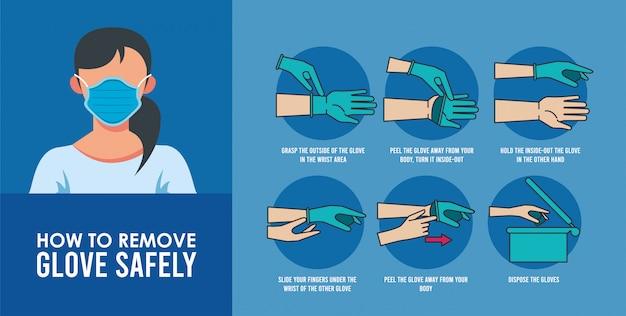Come rimuovere l'infografica dei guanti Vettore Premium