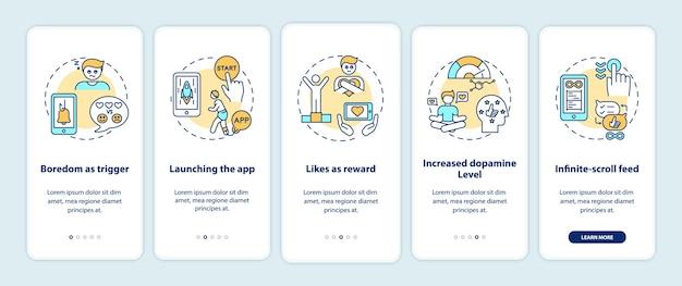Come funziona la dipendenza dai social media inserendo i concetti nella schermata della pagina dell'app mobile