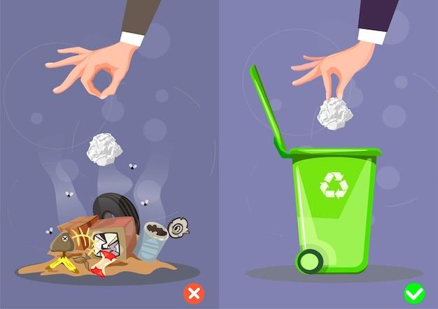 Come gettare la spazzatura nel modo giusto e sbagliato.