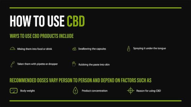 Come usare il cbd, usi medici per l'olio di cbd della pianta di cannabis, poster nero con infografica di benefici medici