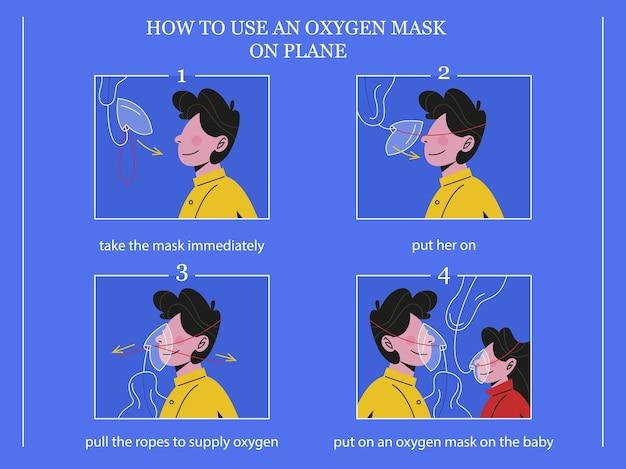 Come usare la maschera di ossigeno sull'aereo in caso di emergenza. istruzioni di volo. passeggero che mostra il processo di utilizzo della maschera respiratoria.