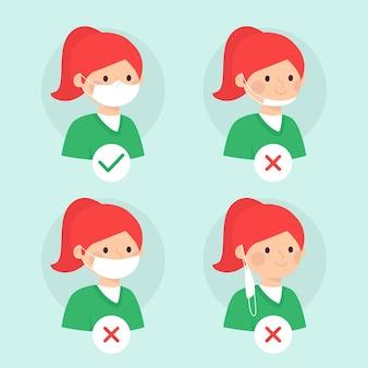 Come indossare un'illustrazione di maschera facciale con giusto e sbagliato