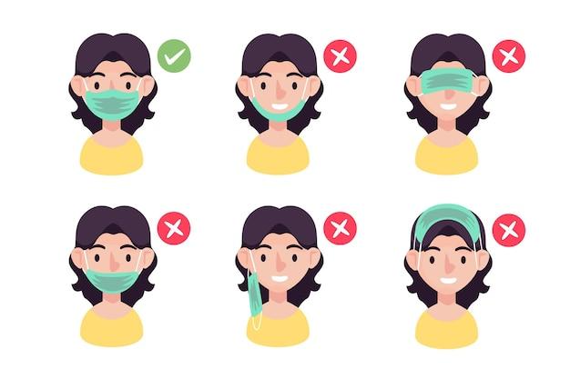 Come indossare un'illustrazione di maschera facciale